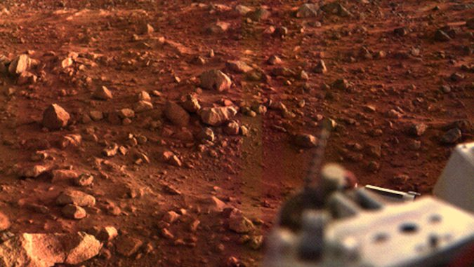 NASA's Viking 1 lander captured this image of its landing site at Chryse Planitia at sunset in August 1976. Credit: NASA/JPL