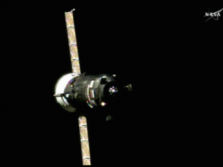 The Progress MS-03 spaceship approaches the space station Monday. Credit: NASA TV/Spaceflight Now