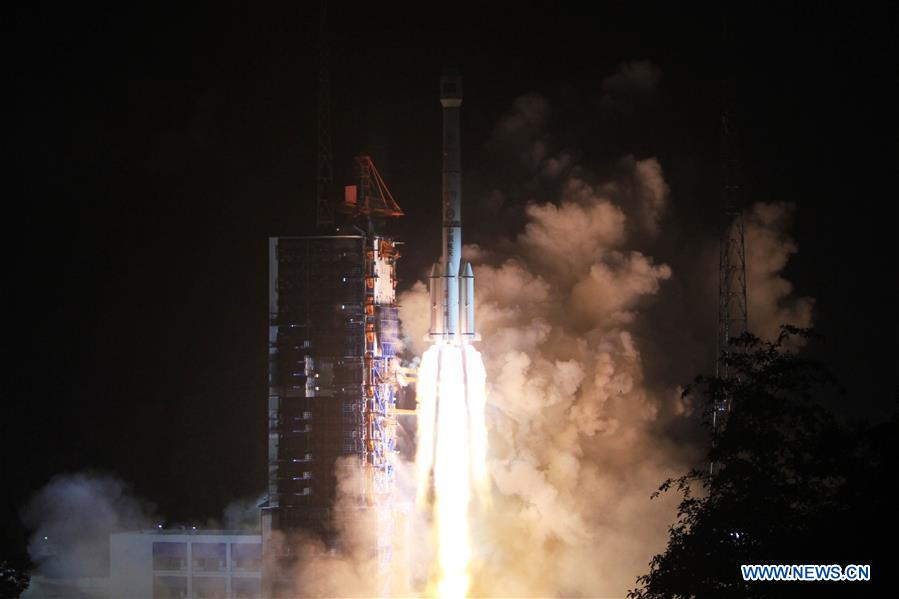 A Long March 3B rocket took off at 1622 GMT (12:22 p.m. EDT) Friday with the Tiantong 1 satellite. Credit: Xinhua