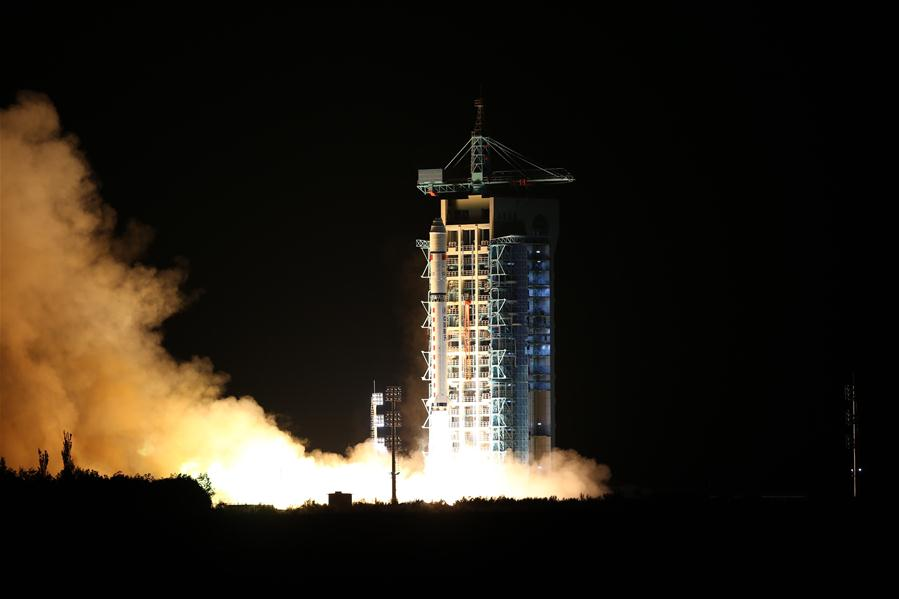 A Long March 2D carrying the Quantum Science Satellite lifted off at 1740 GMT (1:40 p.m. EDT) Monday. The launch from Jiuquan occurred at 1:40 a.m. Tuesday, Beijing time. Credit: Xinhua