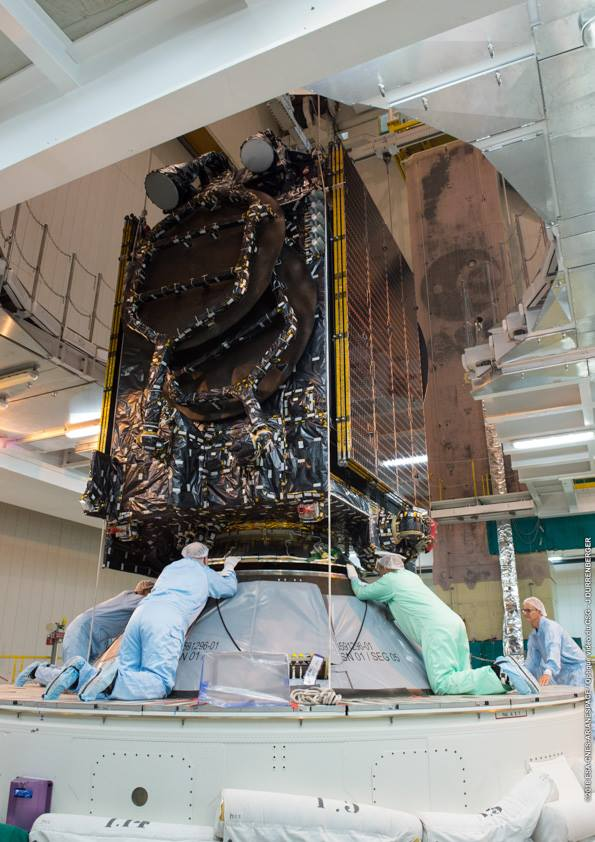 Technicians check the position of the Intelsat 36 satellite on the Ariane 5 rocket's second stage. Credit: ESA/CNES/Arianespace – Photo Optique Video du CSG – J. Durrenberger