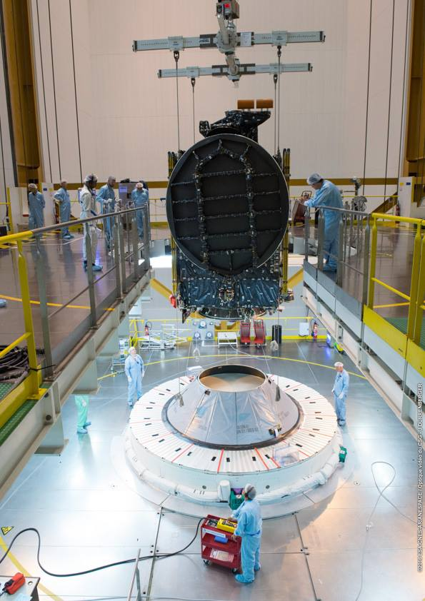 The Intelsat 36 satellite, set to ride in the Ariane 5's lower payload position, is lowered onto the rocket's second stage inside the final assembly building. Credit: ESA/CNES/Arianespace – Photo Optique Video du CSG – J. Durrenberger