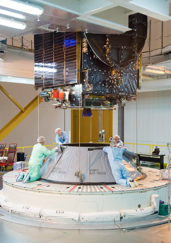 Technicians install the Intelsat 36 satellite onto the upper stage of the Ariane 5 rocket. Credit: ESA/CNES/Arianespace – Photo Optique Video du CSG – J. Durrenberger