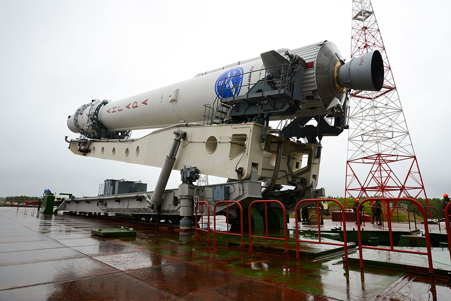 File photo of the first Angara 1.2 rocket after rollout to its launch pad at the Plesetsk Cosmodrome. The first stage's RD-191 engine is prominent in this image. Credit: Russian Ministry of Defense