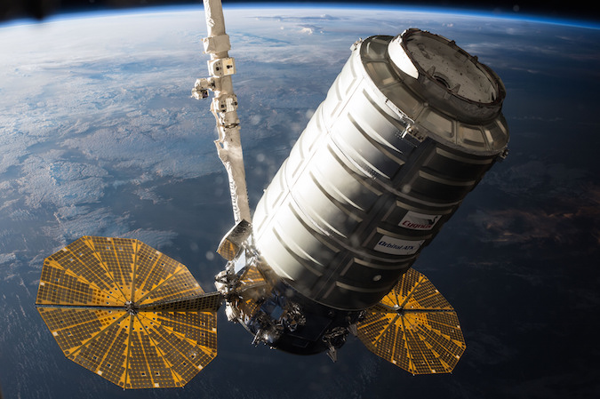 File photo of an Orbital ATK Cygnus supply ship. Credit: NASA