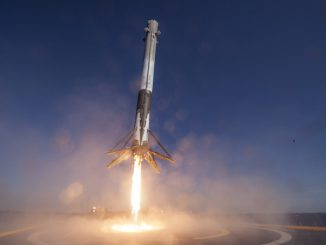 This image from a remote camera aboard SpaceX's landing barge shows a Falcon 9 first stage descending to its first landing at sea April 8. This vehicle will launch again as soon as October with the SES 10 satellite. Credit: SpaceX