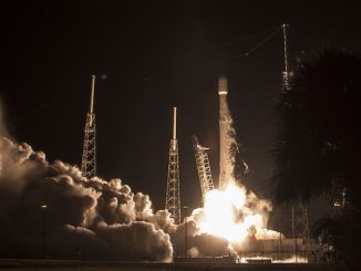 A Falcon 9 rocket blasts off with the JCSAT 16 communications satellite at 1:26 a.m. EDT (0526 GMT) Sunday. Credit: SpaceX