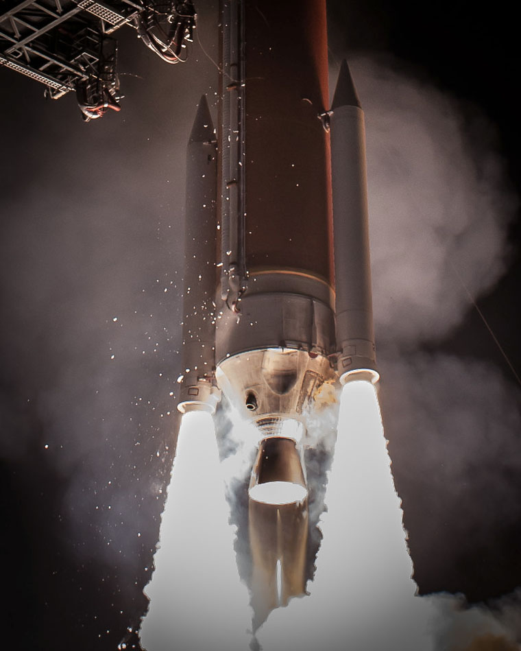The Delta 4 will produce 1.1 million pounds of liftoff thrust. Credit: Walter Scriptunas II / Scriptunas Images