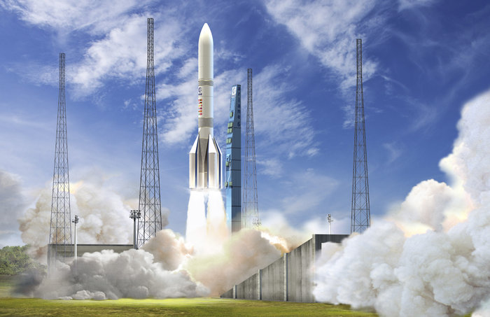 Artist's illustration of the Ariane 64 rocket version, with four solid rocket boosters. Credit: ESA–David Ducros, 2016