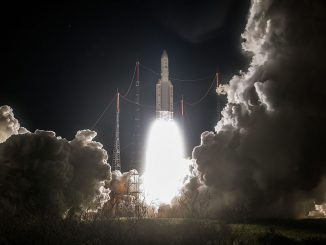 The Ariane 5 rocket ignited its Vulcain 2 main engine at 2216:01 GMT (6:16:01 p.m. EDT), then fired its two solid rocket boosters even seconds later to soar away from the ELA-3 launch pad in Kourou, French Guiana. Credit: ESA/CNES/Arianespace – Photo Optique Video du CSG
