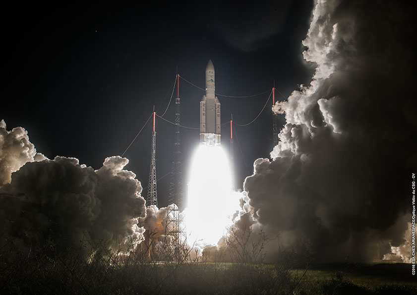 The Ariane 5 rocket ignited its Vulcain 2 main engine at 2216:01 GMT (6:16:01 p.m. EDT), then fired its two solid rocket boosters even seconds later to soar away from the ELA-3 launch pad in Kourou, French Guiana. ESA/CNES/Arianespace – Photo Optique Video du CSG