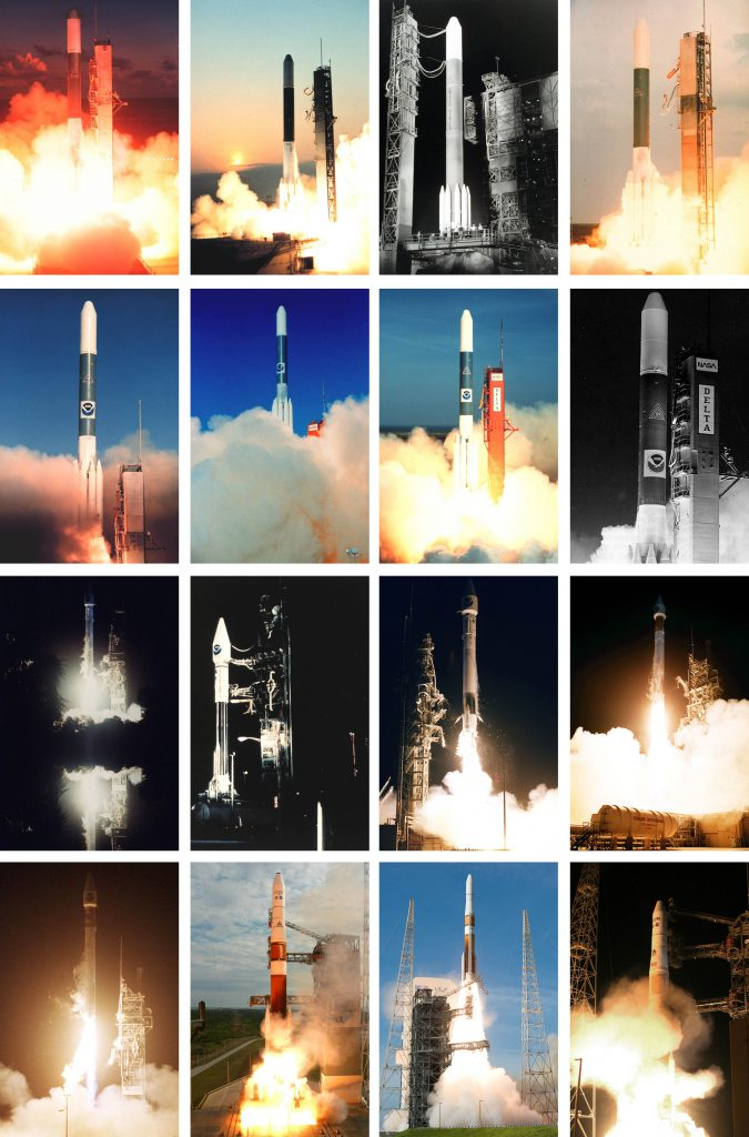 All of the launches in the GOES satellite series are shown here aboard Delta and Atlas rockets. Photos by NASA/NOAA/ULA