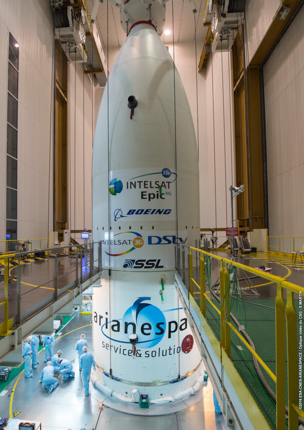 The Ariane 5 rocket's 17.7-foot-diamter (5.4 meter) nose cone encloses the Intelsat 33e and Intelsat 36 satellites in the upper and lower positions. Credit: ESA/CNES/Arianespace – Photo Optique Video du CSG – S. Martin