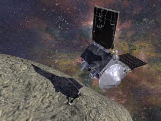 Illustration of NASA's OSIRIS-REx spacecraft performing its touch-and-go sample collection at asteroid Bennu.
