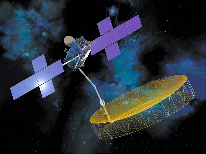 Artist's concept of the EchoStar 21 satellite, formerly known as TerreStar 2, with a large deployable antenna reflector. Credit: Space Systems/Loral