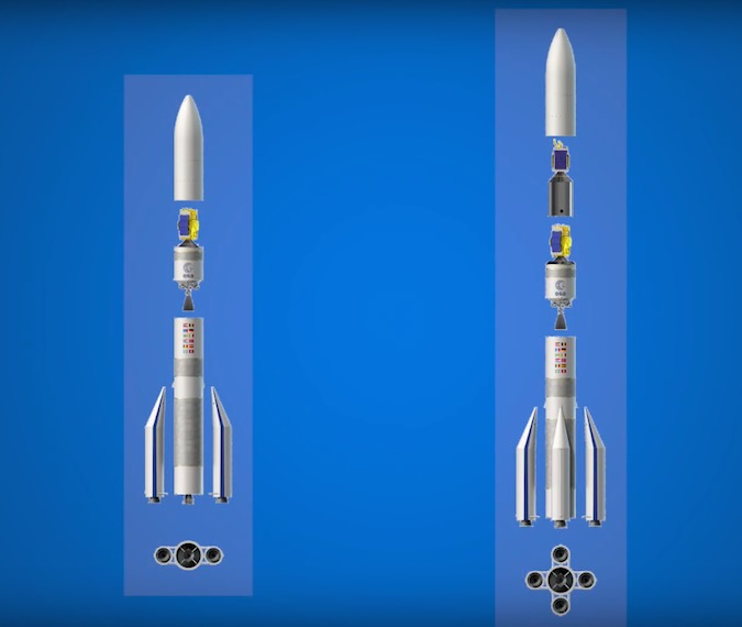 This cutaway diagram shows the Ariane 62 and Ariane 64 rocket configurations. Credit: ESA