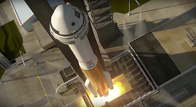 Artist's concept of a CST-100 Starliner capsule on top of an Atlas 5 rocket. Credit: Boeing