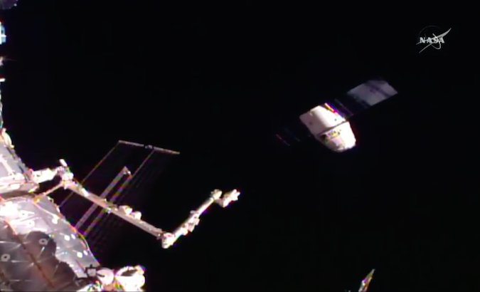 The Dragon spacecraft departs the International Space Station early Friday. Credit: NASA TV/Spaceflight Now