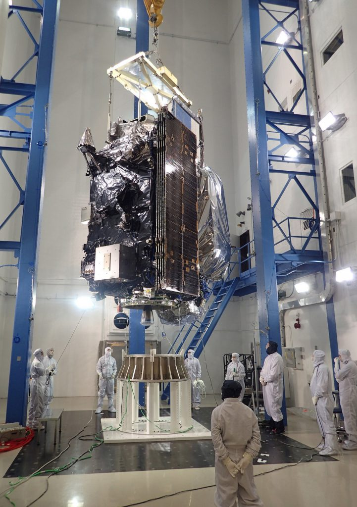 The GOES R weather satellite folded up for launch. Credit: Lockheed Martin
