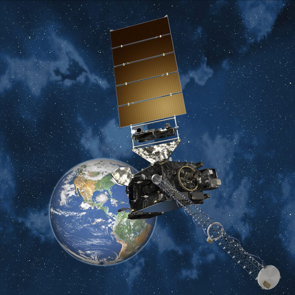 An artist's concept of the GOES R spacecraft. Credit: NOAA