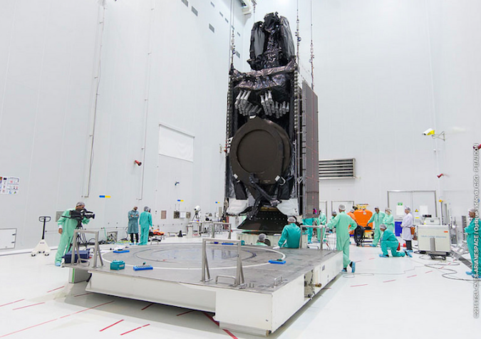 The Intelsat 33e satellite is seen during launch preparations in French Guiana. Credit: ESA/CNES/Arianespace – Photo Optique Video du CSG – S. Martin