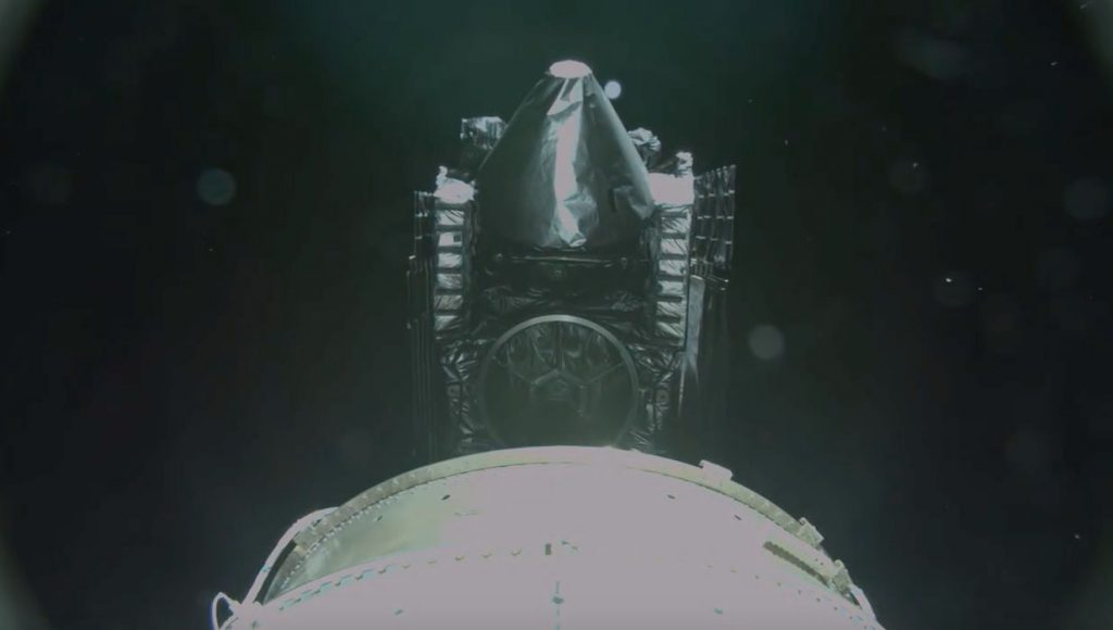 A rocketcam view of MUOS No. 5 separating from the Centaur upper stage. Credit: ULA