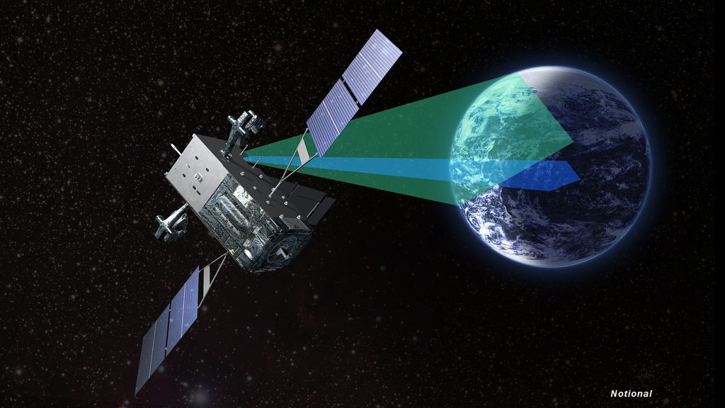 An artist's concept of a SBIRS GEO satellite in orbit. Credit: Lockheed Martin