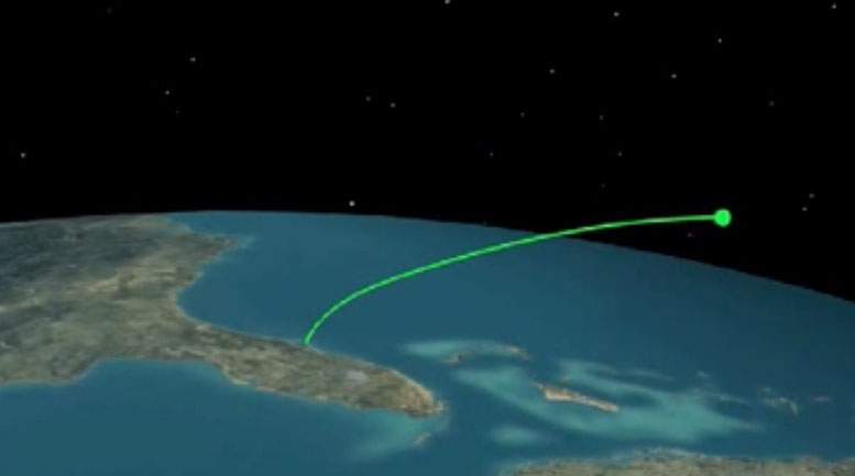 The flight trajectory is eastward from Cape Canaveral. Credit: ULA