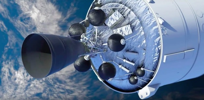 Artist's concept of a Vinci engine, featuring an extendable nozzle, on the Ariane 6 upper stage. Credit: Safran