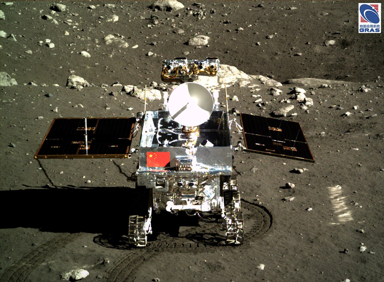 A camera aboard the Chang'e 3 lander captured this view of the Yutu rover in December 2013. Credit: Chinese Academy of Sciences/NAOC/Science and Application Center for Moon and Deepspace Exploration