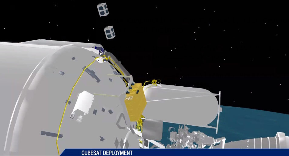 An artist's concept of a cubesat being deployed from the Atlas 5 rocket's Centaur upper stage. Credit: ULA