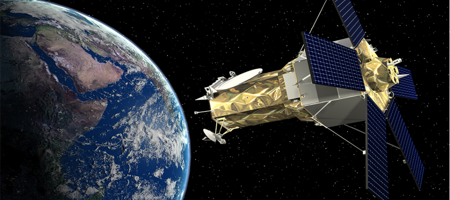 An artist's concept of WorldView 4 in orbit. Credit: Lockheed Martin