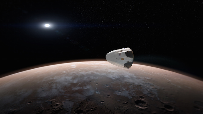 Artist's concept of a Dragon spacecraft at Mars. Credit: SpaceX