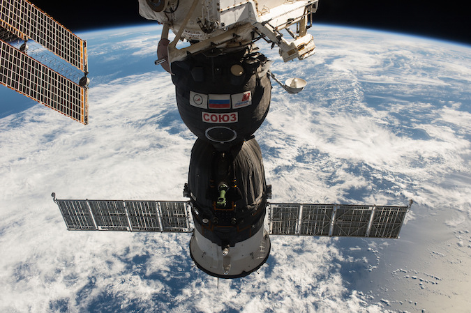File photo of a Russian Soyuz spacecraft docked at the International Space Station. Credit: NASA