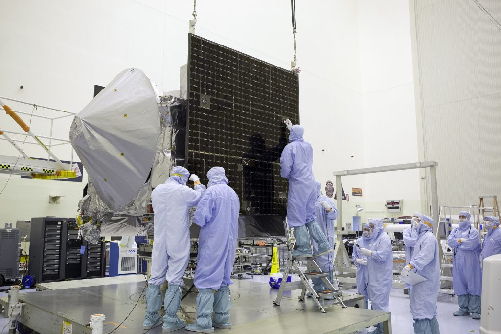 OSIRIS-REx in the cleanroom at Kennedy Space Center. Credit: NASA