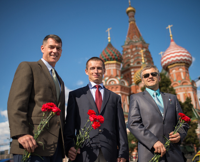 NASA astronaut Shane Kimgrough, and Russian cosmonauts Sergei Ryzhikov and Andrey Borisenko visit Red Square in Moscow. Credit: NASA/Bill Ingalls