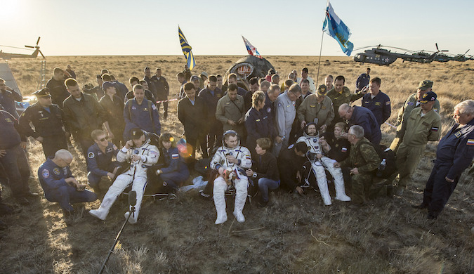 NASA astronaut Jeff Williams, Soyuz commander Alexey Ovchinin and flight engineer Oleg Skripochka were greeted on the Kazakh steppe by Russian and U.S. recovery crews. Credit: NASA/Bill Ingalls