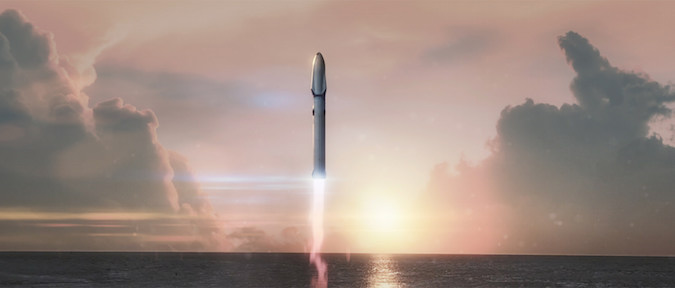 Artist's illustration of SpaceX's huge Mars-class booster launching from launch pad 39A at NASA's Kennedy Space Center in Florida. Credit: SpaceX