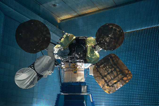 File photo of the Amos 6 satellite during ground testing. Credit: Spacecom Ltd.