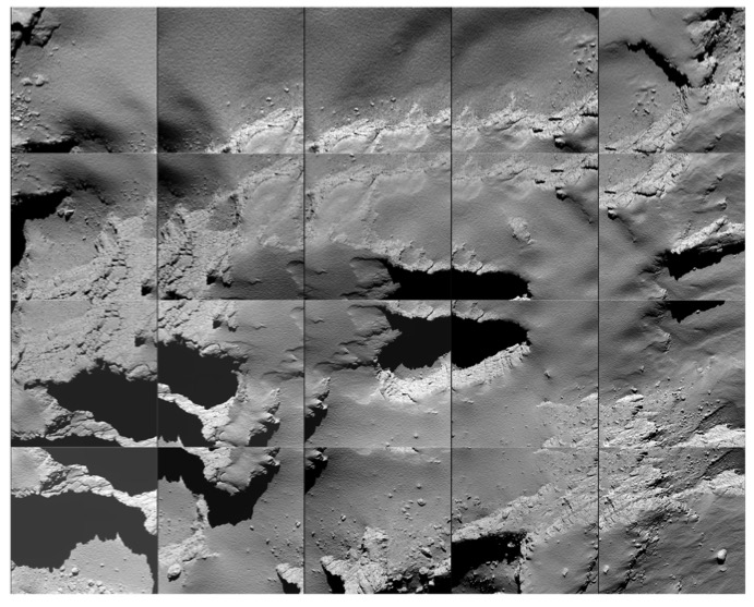 Sequence of images captured by Rosetta during its descent to the surface of comet 67P/Churyumov-Gerasimenko. Credit: ESA/Rosetta/MPS for OSIRIS Team MPS/UPD/LAM/IAA/SSO/INTA/UPM/DASP/IDA