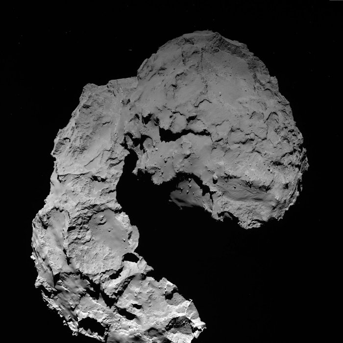Rosetta's OSIRIS wide-angle camera captured this shot of comet 67P/Churyumov-Gerasimenko at 1149 GMT (7:49 a.m. EDT) Thursday at a distance of 14.2 miles (22.9 kilometers) from the nucleus. Credit: ESA/Rosetta/MPS for OSIRIS Team MPS/UPD/LAM/IAA/SSO/INTA/UPM/DASP/IDA