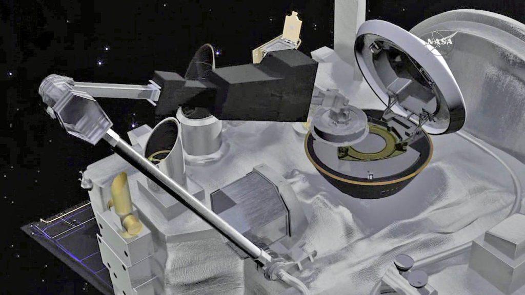 An artist's concept of OSIRIS-REx stowing Bennu sample. Credit: NASA