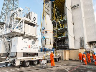 The Vega rocket's payload fairing, containing the PeruSat 1 and Terra Bella satellites, arrives at the base of the Vega launch pad earlier this month. Credit: ESA/CNES/Arianespace – Photo Optique Video du CSG – P. Piron