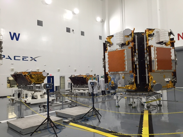 The first 10 satellites for Iridium's next-generation communications network are awaiting launch at SpaceX's payload processing facility at Space Launch Complex 4 at Vandenberg Air Force Base, California. Credit: Iridium