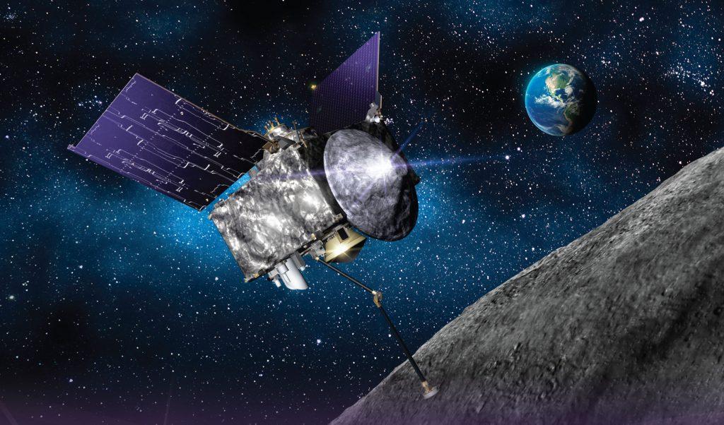 An artist's concept of OSIRIS-REx at Asteroid Bennu. Credit: Lockheed Martin