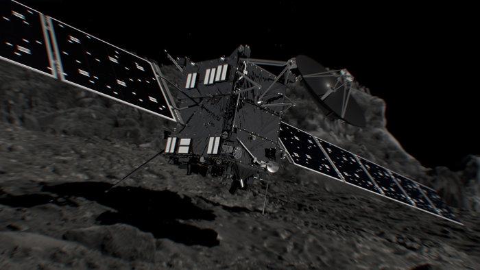 Artist's concept of the Rosetta spacecraft just before impact with comet 67P/Churyumov-Gerasimenko. Credit: ESA/ATG medialab