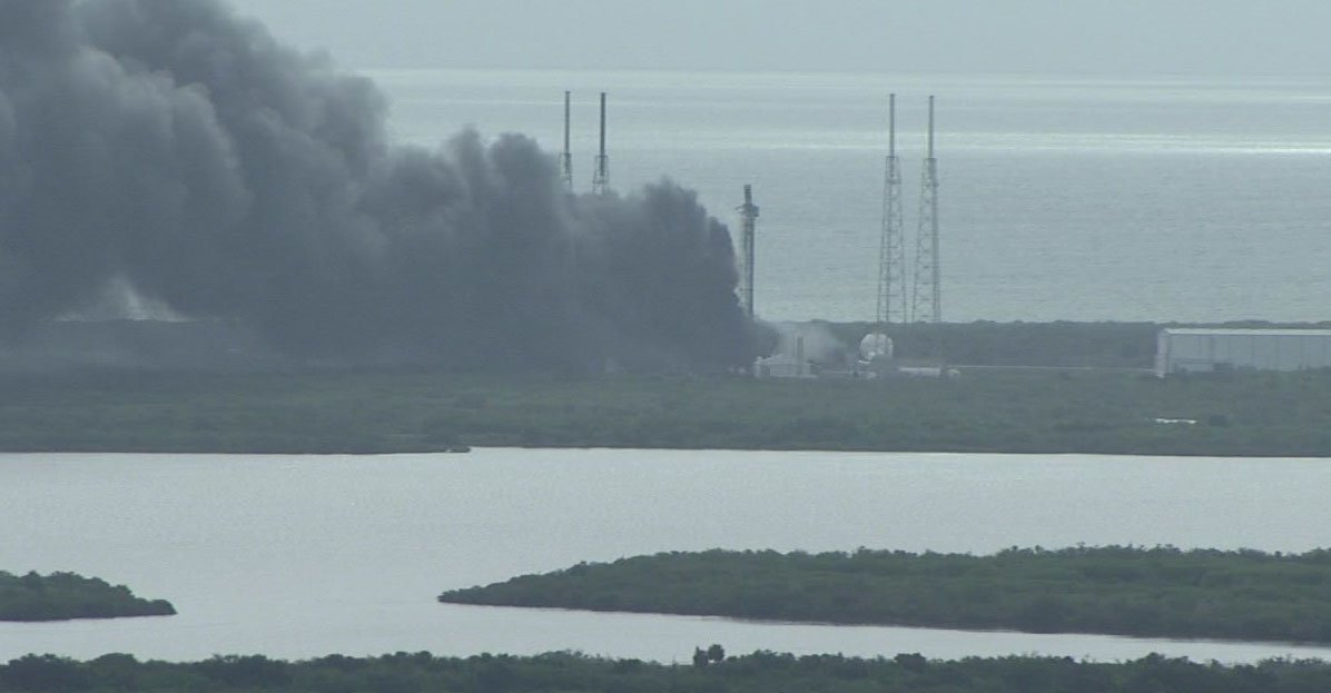 This view of Cape Canaveral's Complex 40 launch pad from the roof of NASA's Vehicle Assembly Building shows the facility soon after the Falcon 9 rocket exploded. Credit: NASA