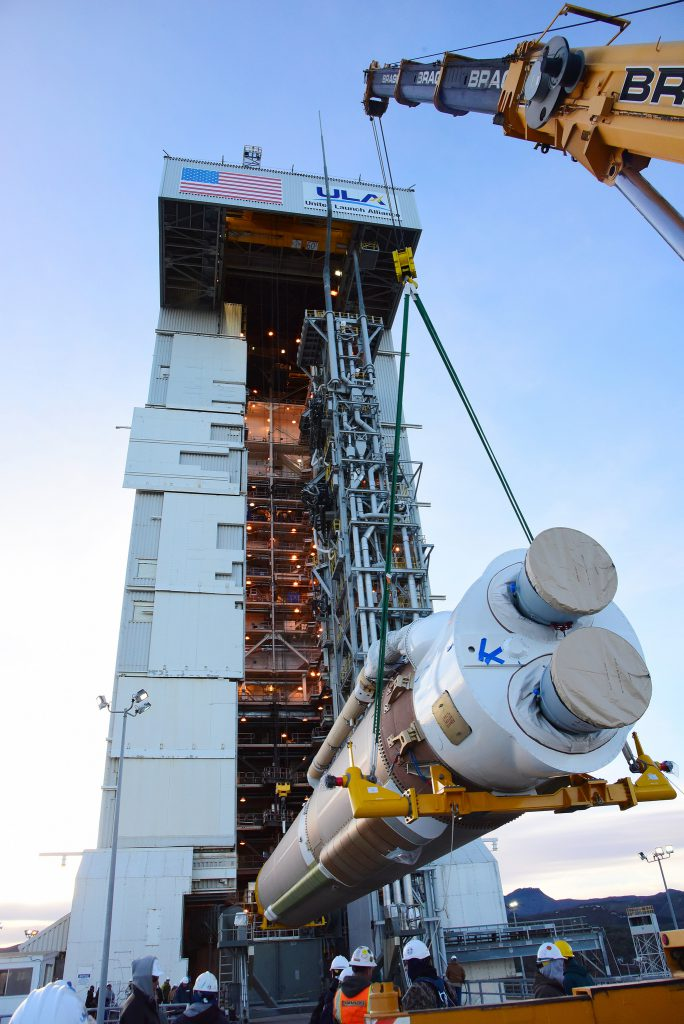 The Atlas first stage was erected on the pad in December. Credit: NASA/Mark Mackley