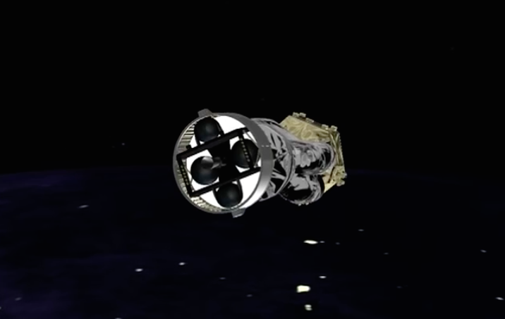 The AVUM fourth stage shuts down to begin a 46-minute coast phase before its next burn.