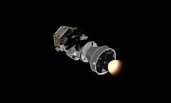 The AVUM's RD-843 engine fires a third time for a 47-second burn to boost into a higher orbit for deployment of PeruSat 1.
